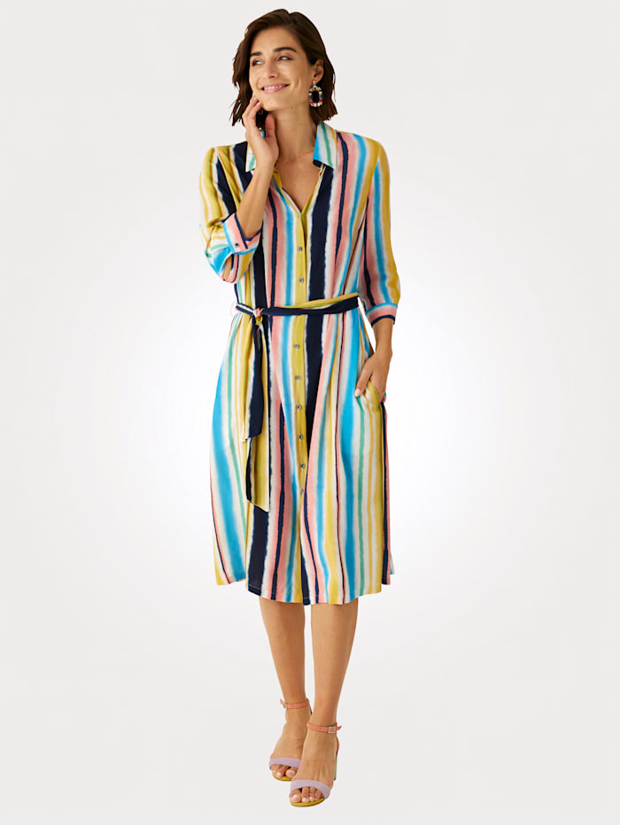 MONA Blusenkleid in modischem Streifendessin, Multicolor