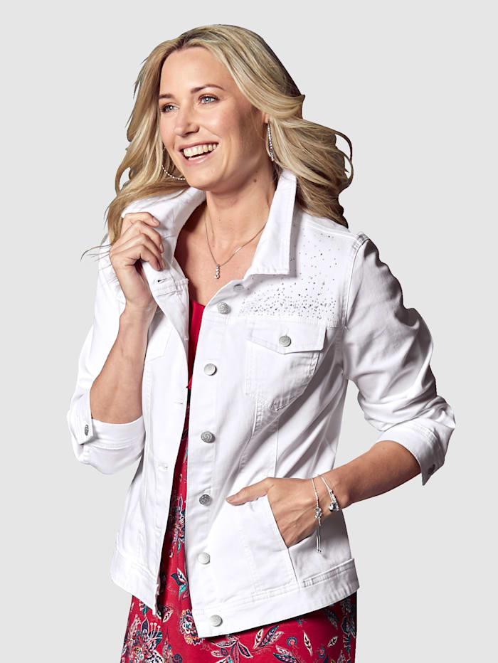 MIAMODA Jeansjacke mit Dekosteinen, Weiß