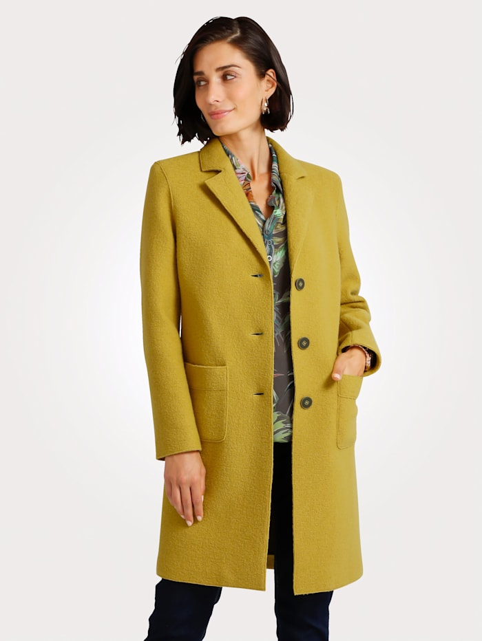 MONA Short coat made from pure wool, Mustard