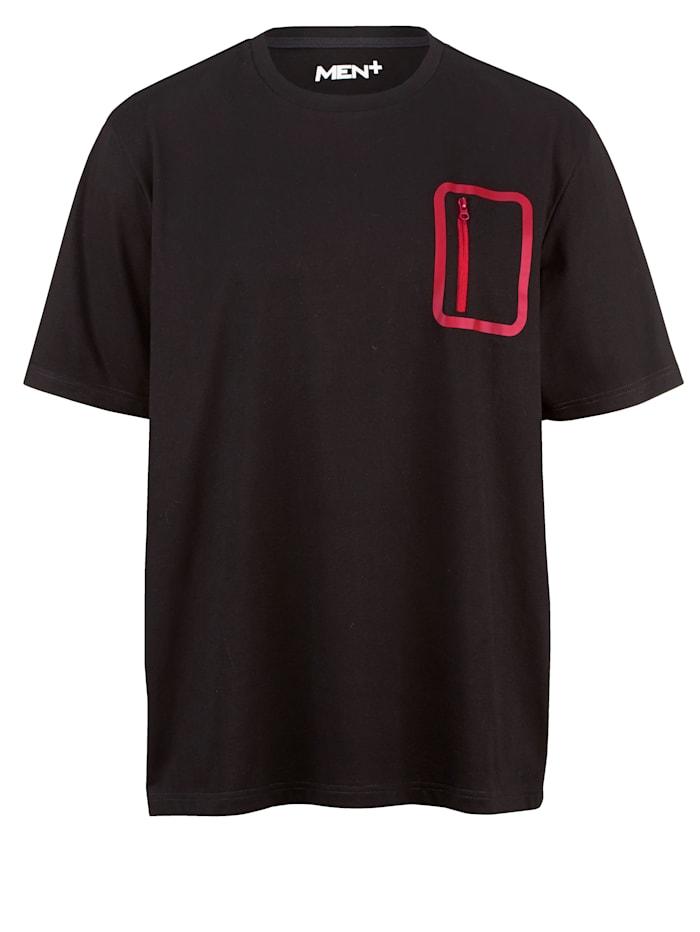Men Plus T-shirt van sneldrogend materiaal, Zwart/Lichtrood