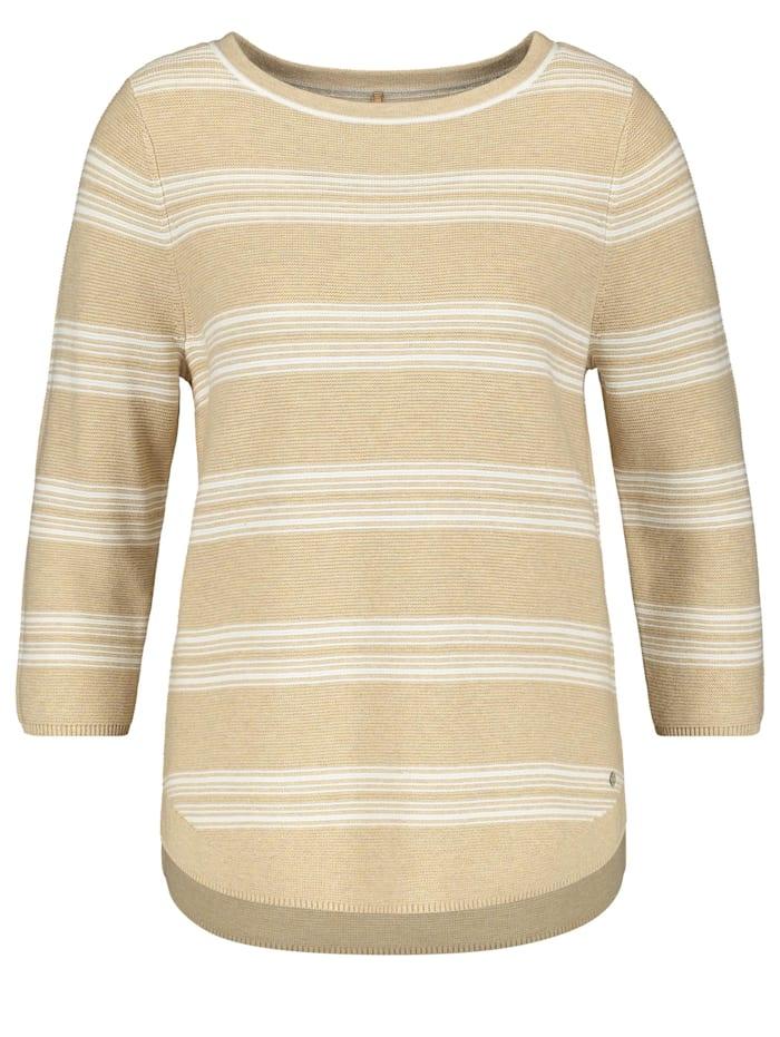 Gerry Weber 3/4 Arm Pullover organic cotton, Ecru/Weiss Ringel