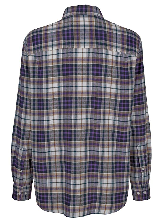 Rutig bomullsskjorta med mjuk yta