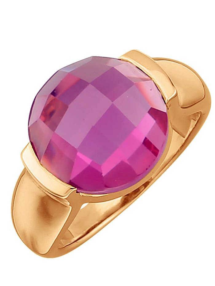 Jamelli Damenring mit Quarz, Pink