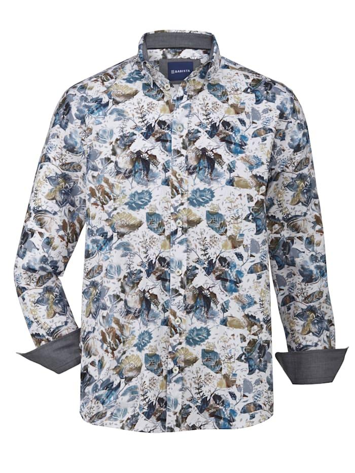 BABISTA Hemd floral bedruckt, Weiß/Blau