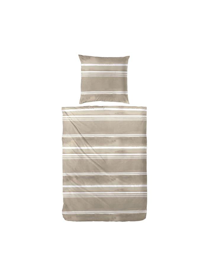 Hahn Premium Seersucker Bettwäsche Streifen beige, beige