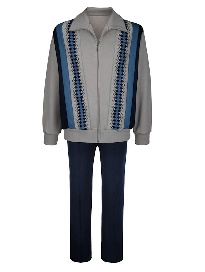 Dannecker Joggingpak van comfortabele jersey, Marine/Grijs/Donkerblauw