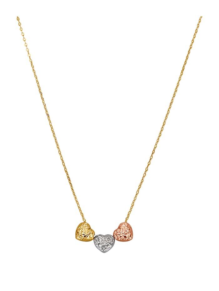 Halsband med tre hjärtan, Guldfärgad