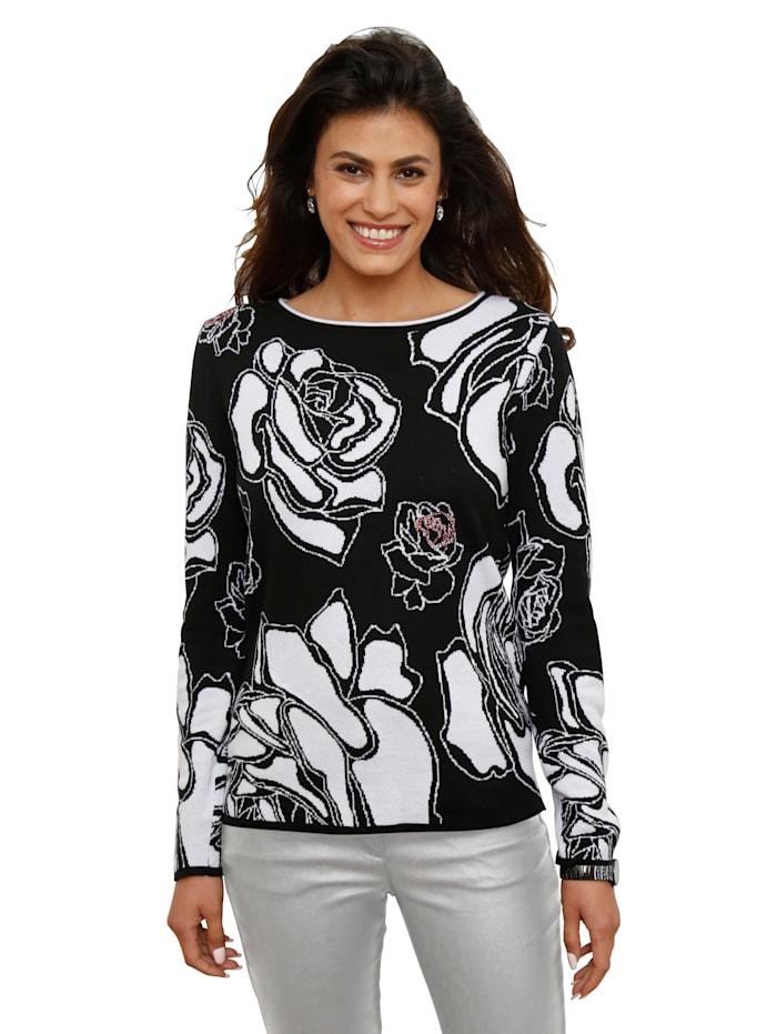 AMY VERMONT Pullover mit roten Strassstein-Verzierungen, Schwarz/Off-white