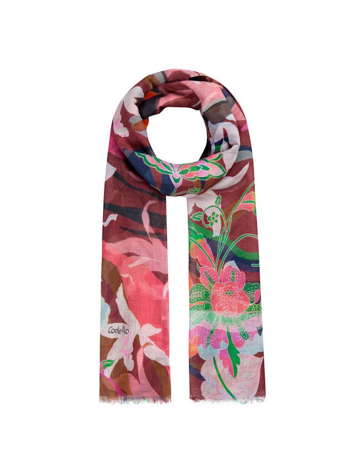 Codello Sommerleichter Flower-Schal aus Leinen und Baumwolle, pink