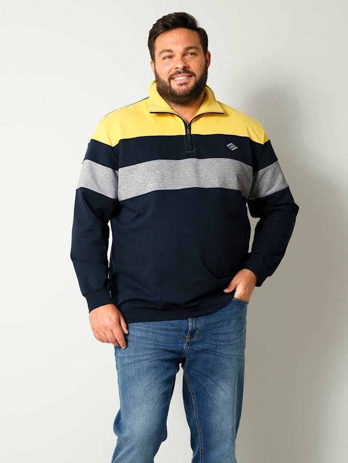 Men Plus Sweatshirt met schipperskraag, Geel