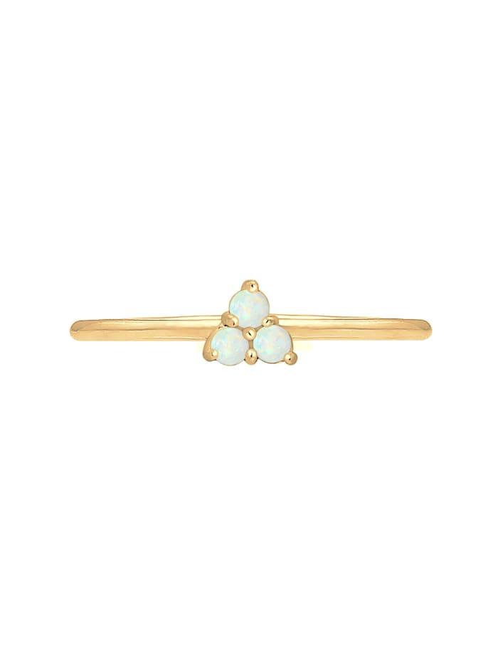 Ring Bandring Opal Kreis Geo Trio Trend 925Er Silber