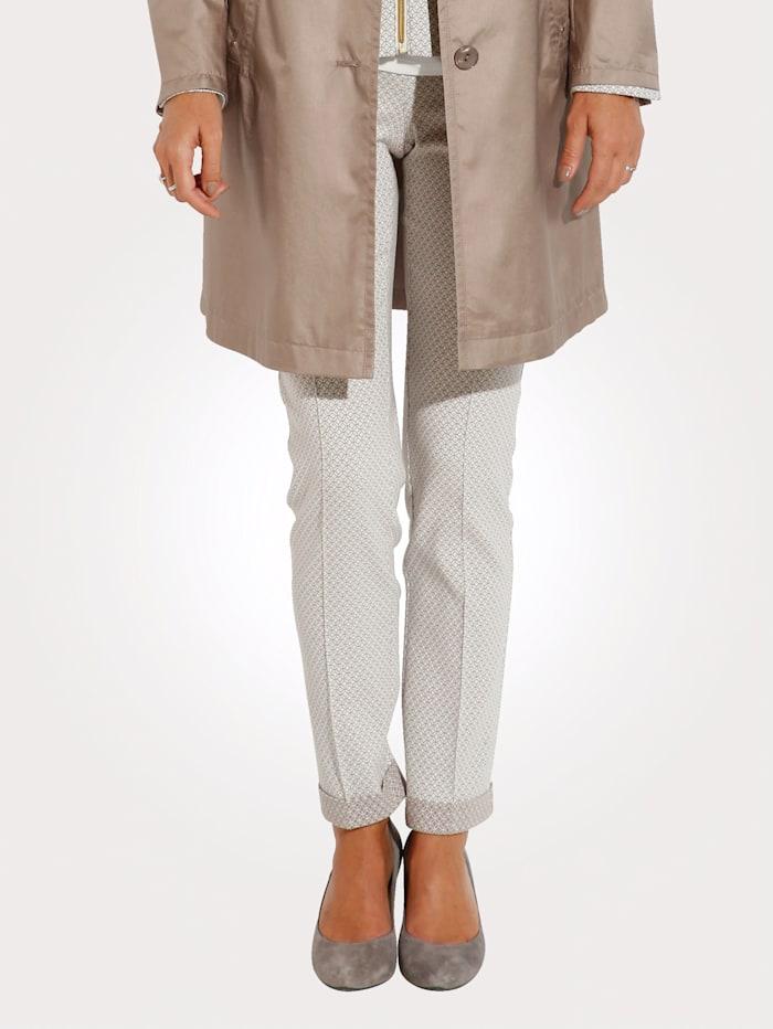 MONA Pantalon en jersey jacquard, Écru/Camel