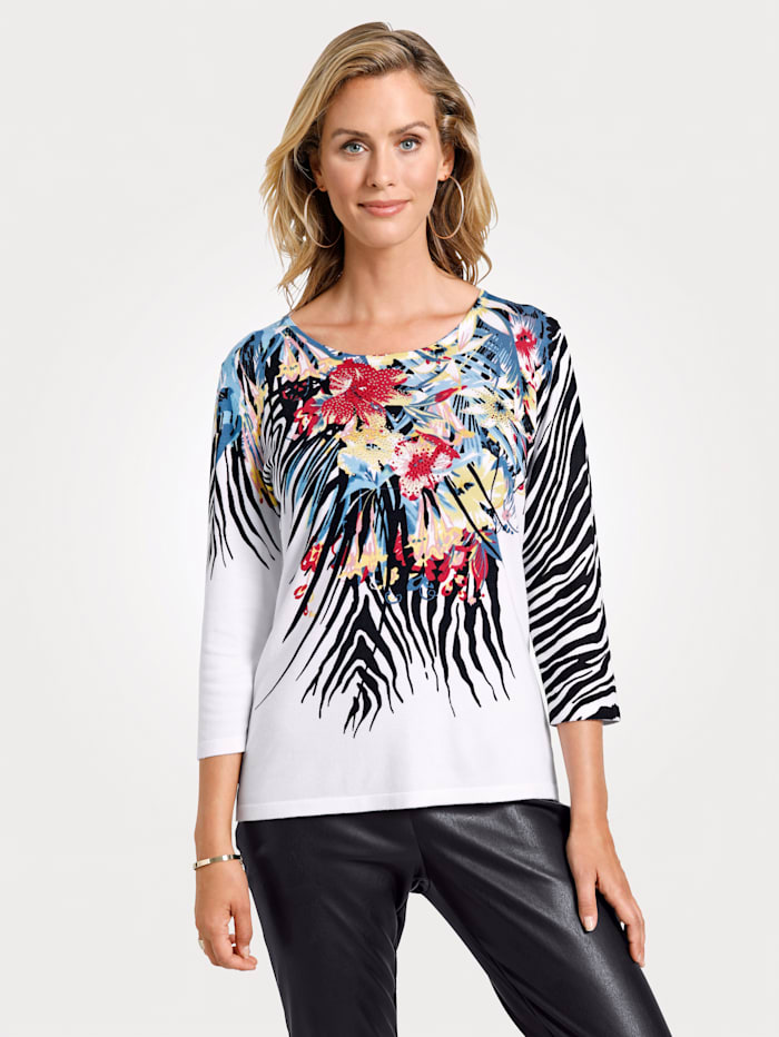 MONA Pullover mit modischem Blütendruck, Weiß/Schwarz/Rot