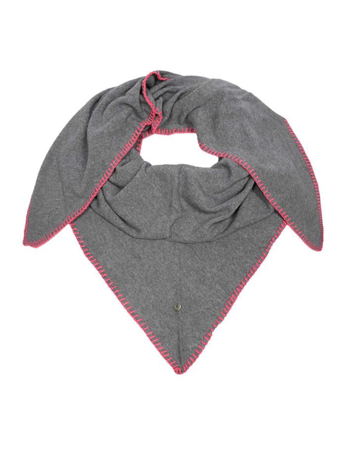 Zwillingsherz Dreieckstuch Häkelrand, grau/pink