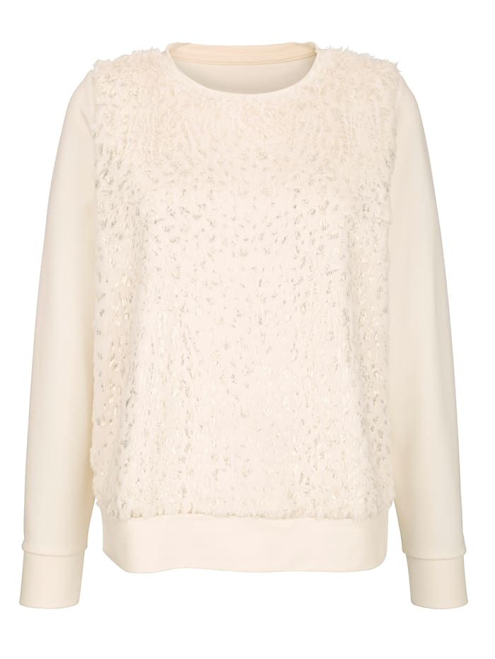AMY VERMONT Sweatshirt mit Fellimitateinsatz, Off-white