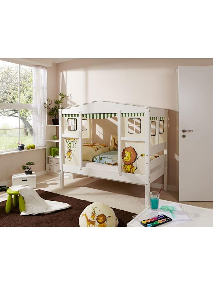 """Ticaa Hausbett Mini mit Bettkasten """"Safari"""" Kiefer Weiß, Weiß"""