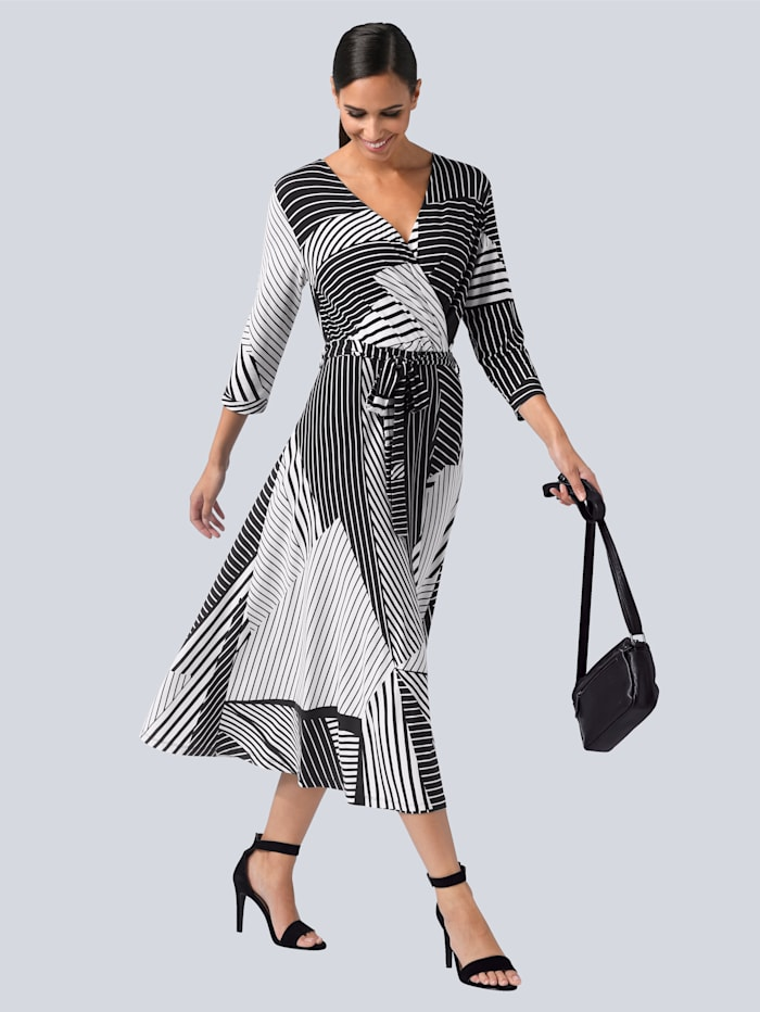 Alba Moda Kleid in femininer Wickeloptik, Schwarz/Weiß