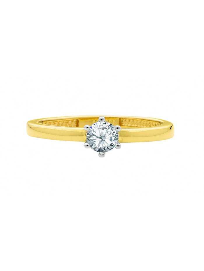 1001 Diamonds Damen Goldschmuck 585 Gold Ring mit Zirkonia, gold