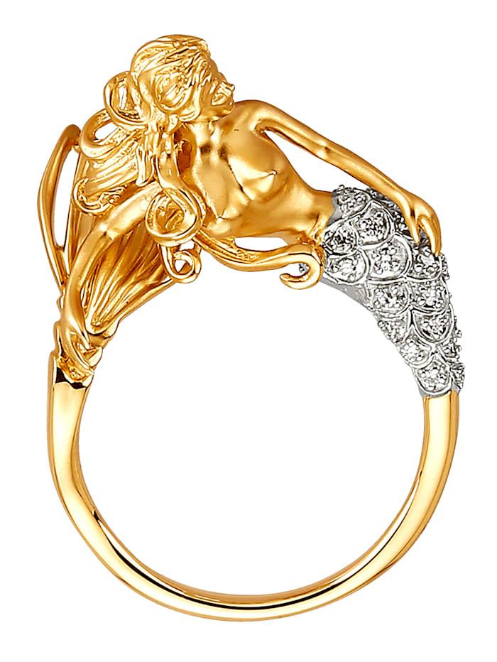 Ring Zeemeermin met diamanten