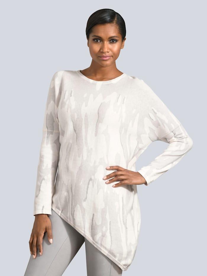 Alba Moda Pullover in asymmetrischer Form, Weiß/Silbergrau