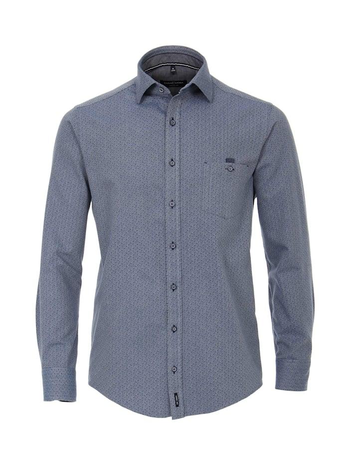 CASAMODA Hemd Print Casual Fit, graues Mittelblau