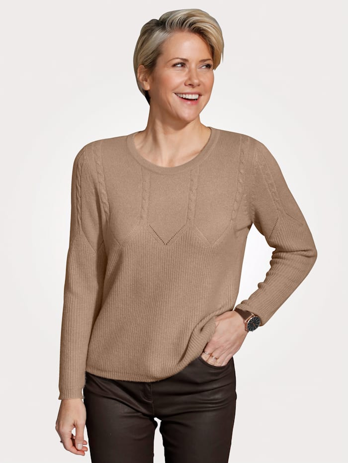 MONA Pull-over en pur cachemire, Marron clair
