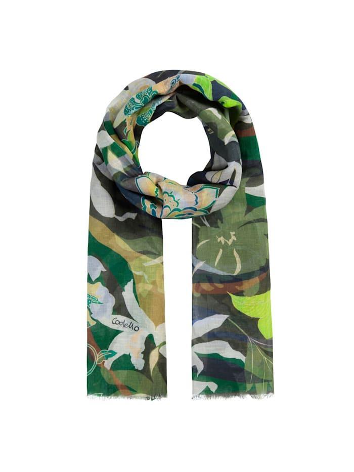 Codello Sommerleichter Flower-Schal aus Leinen und Baumwolle, olive