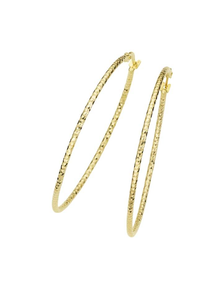 Luigi Merano Creolen mit diamantierter Oberfläche, Gold 375, Gold