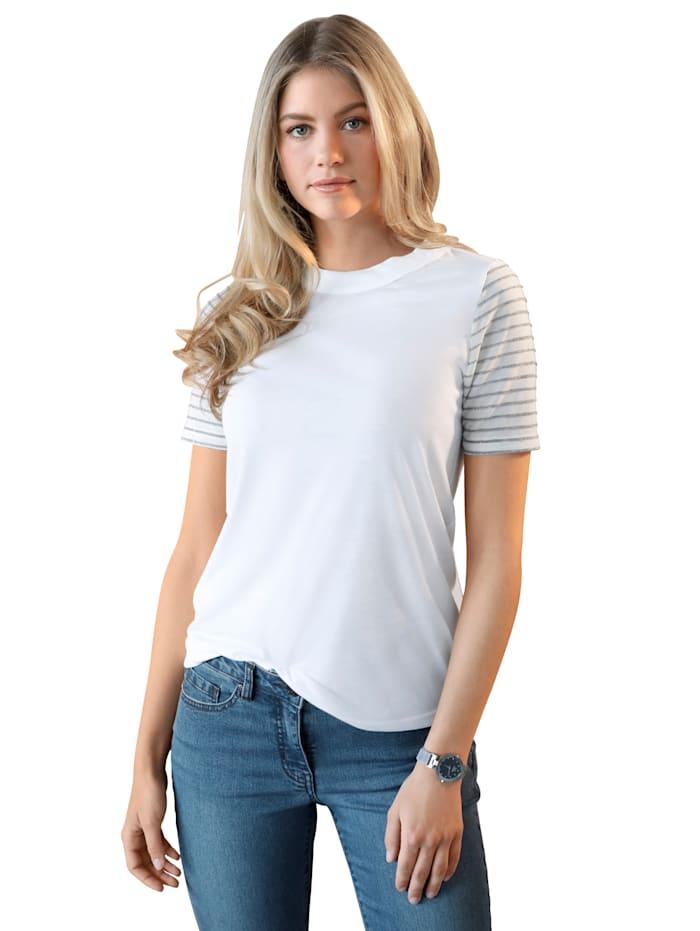 AMY VERMONT Shirt mit Ärmeln im Streifen-Dessin, Off-white/Silberfarben