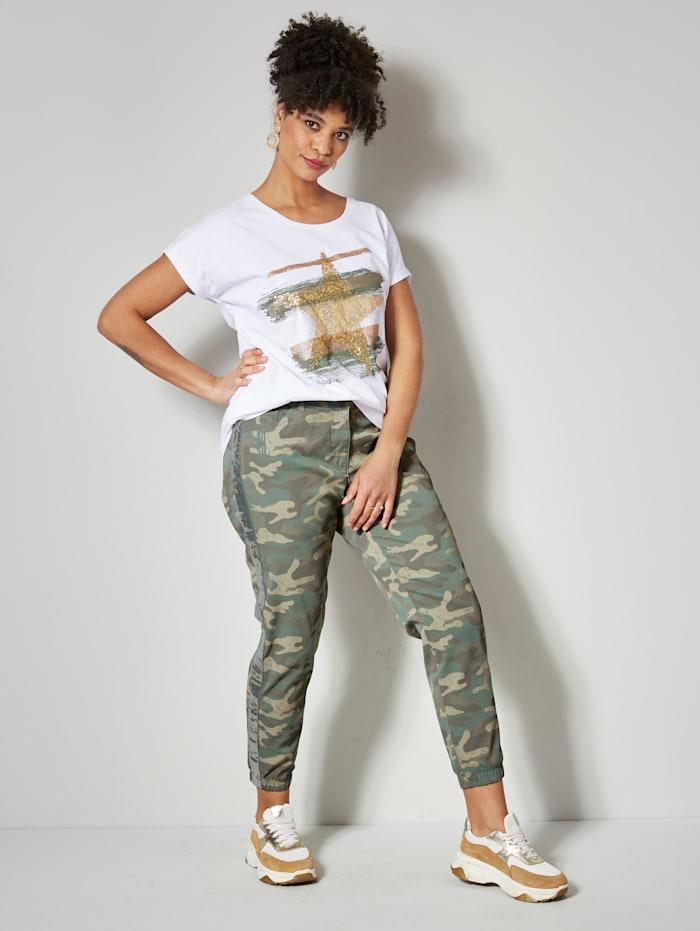 Angel of Style Shirt met ster van pailletten, Wit