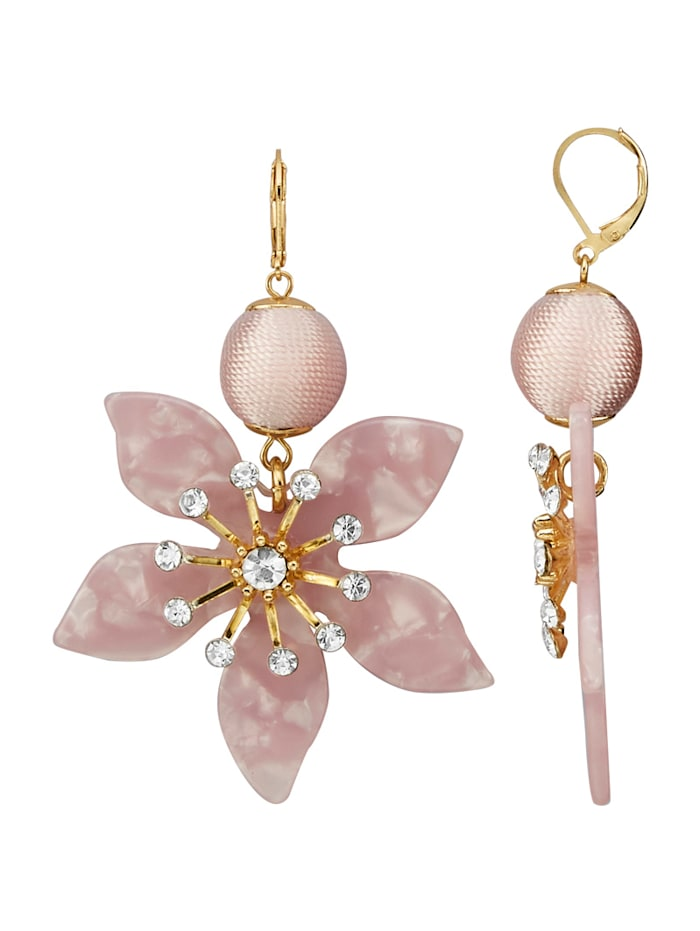 Ohrringe mit Glassteinen, Rosé