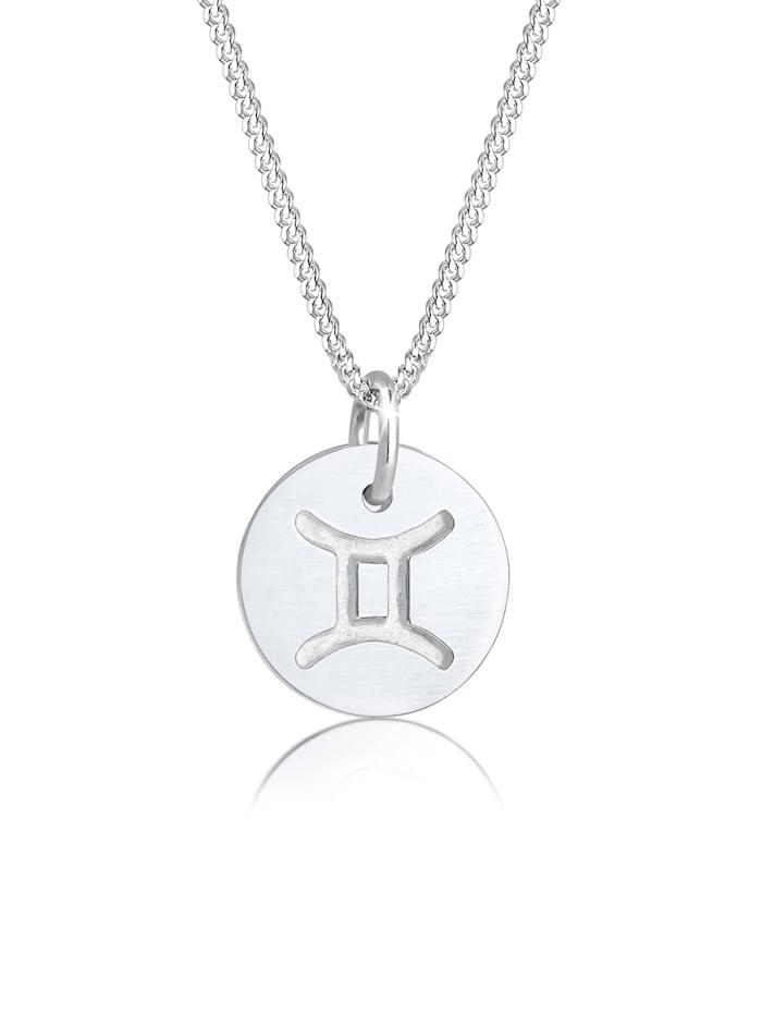 Elli Halskette Sternzeichen Zwillinge Astro Symbol Matt Silber, Silber