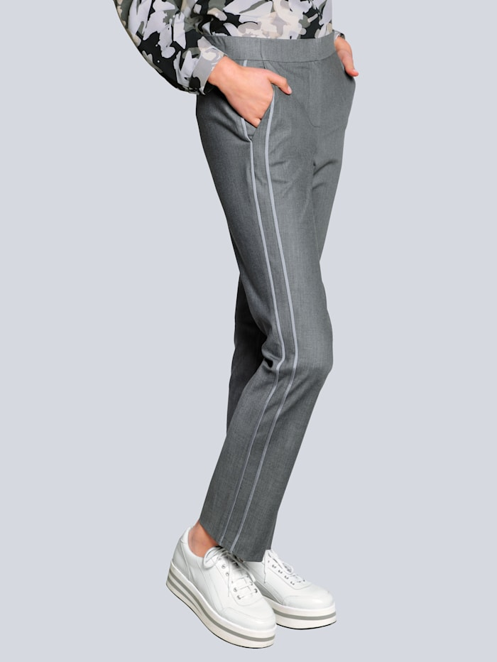 Alba Moda Pantalon de coloris facile à coordonner, Gris