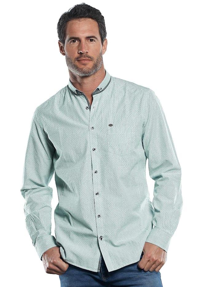 Engbers Innovatives Langarmhemd mit modischem Muster, Petrolgrün