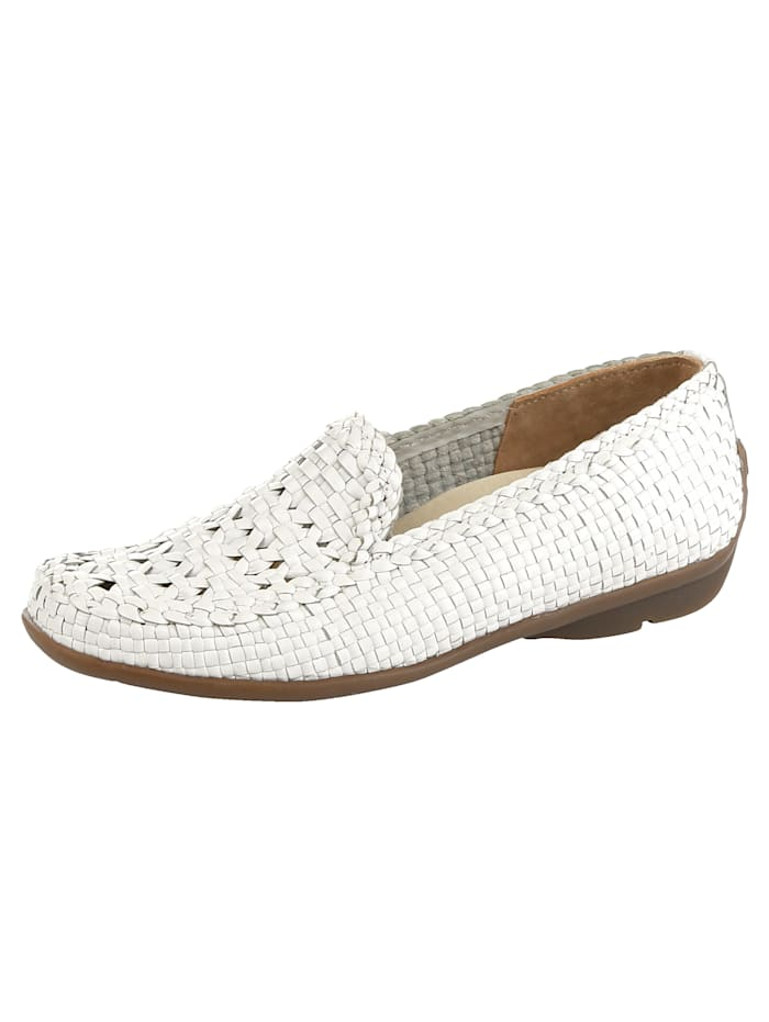 Waldläufer Loafers with braided leather, White