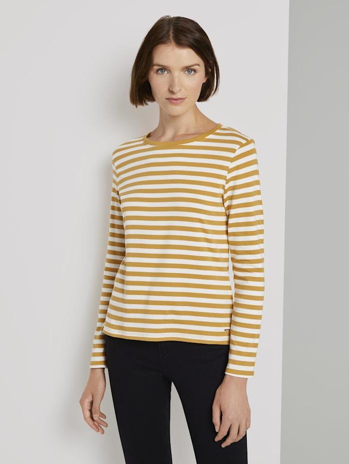 Tom Tailor Denim Gestreiftes Langarmshirt, yellow white stripe