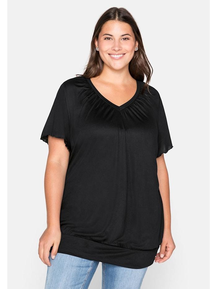 Sheego T-Shirt mit Flügelärmeln, schwarz