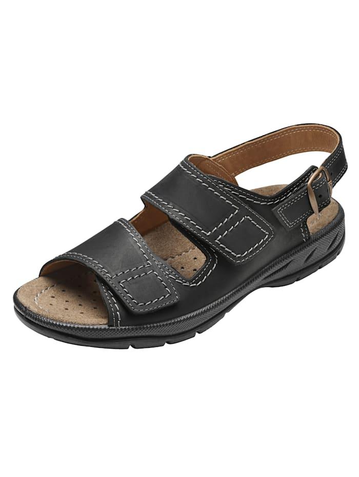 Jomos Sandale aus weichem Nubukleder, Schwarz