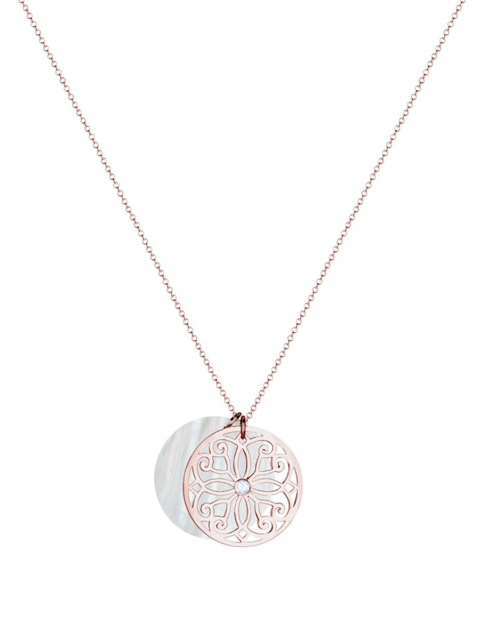 Halskette Ornament Perlmutt Topas 925 Sterling Silber