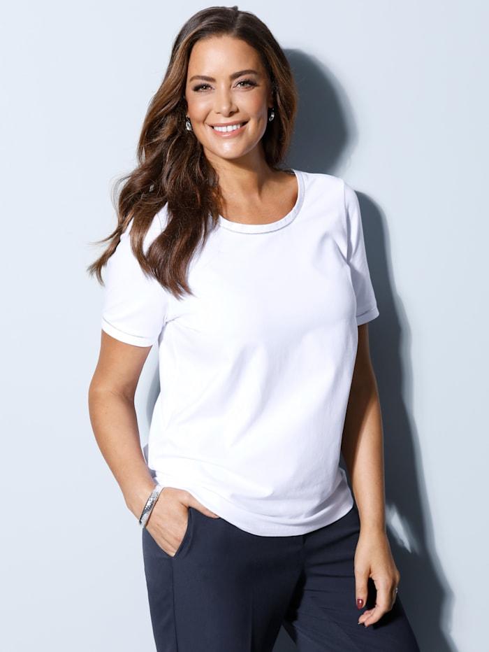 Shirt met zilverkleurige paspels