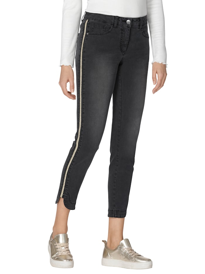 AMY VERMONT Jeans mit seitlich aufgesetztem Zierband, Schwarz/Goldfarben