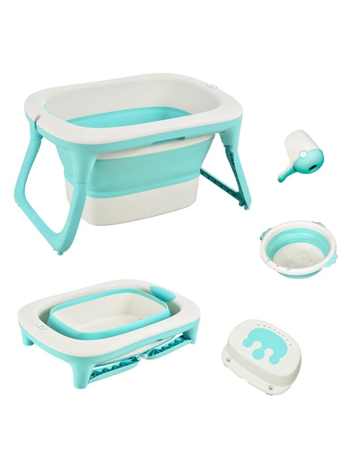 HOMCOM Babybadewanne mit Waschbecken und Shampoobecher, grün