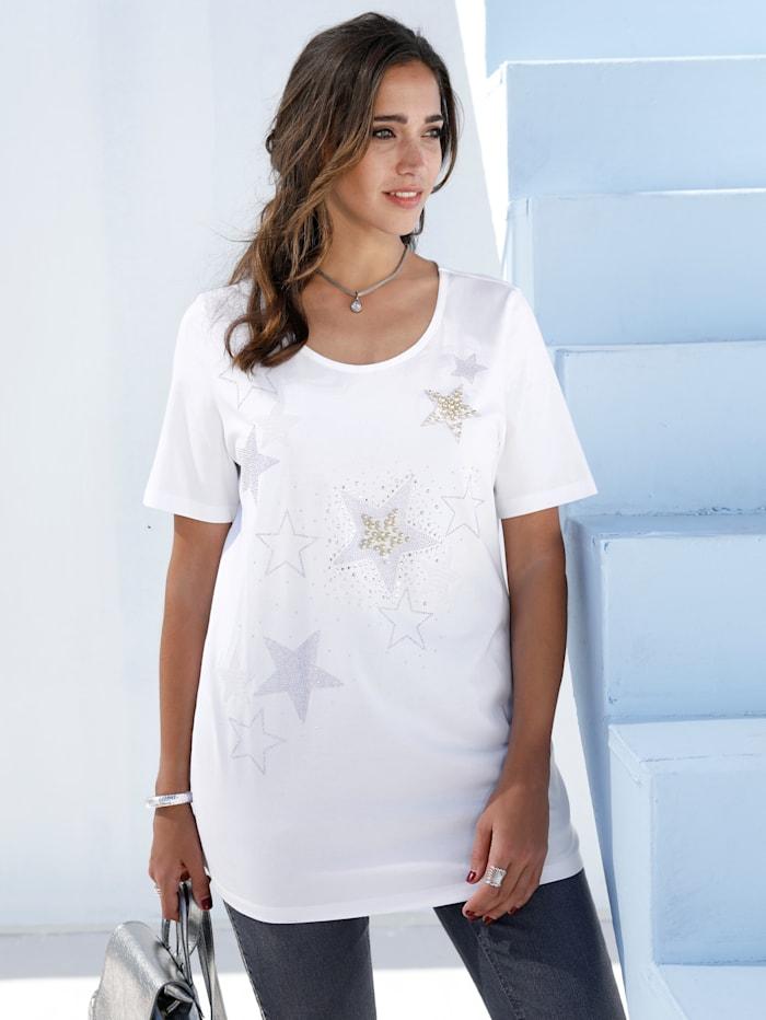 MIAMODA Shirt mit perlenbesetzten Sternen, Weiß