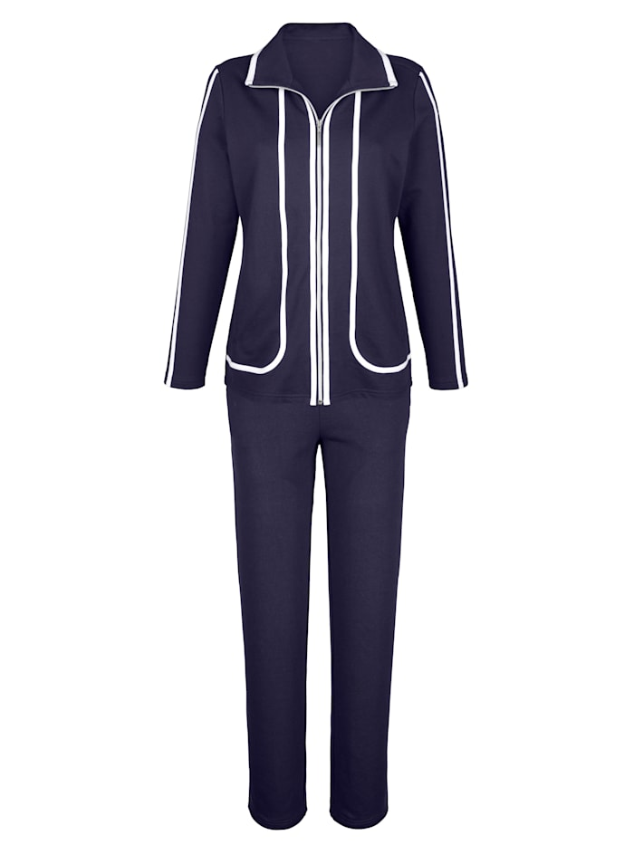Harmony Loungewear Set Contrasting piping, Navy/White