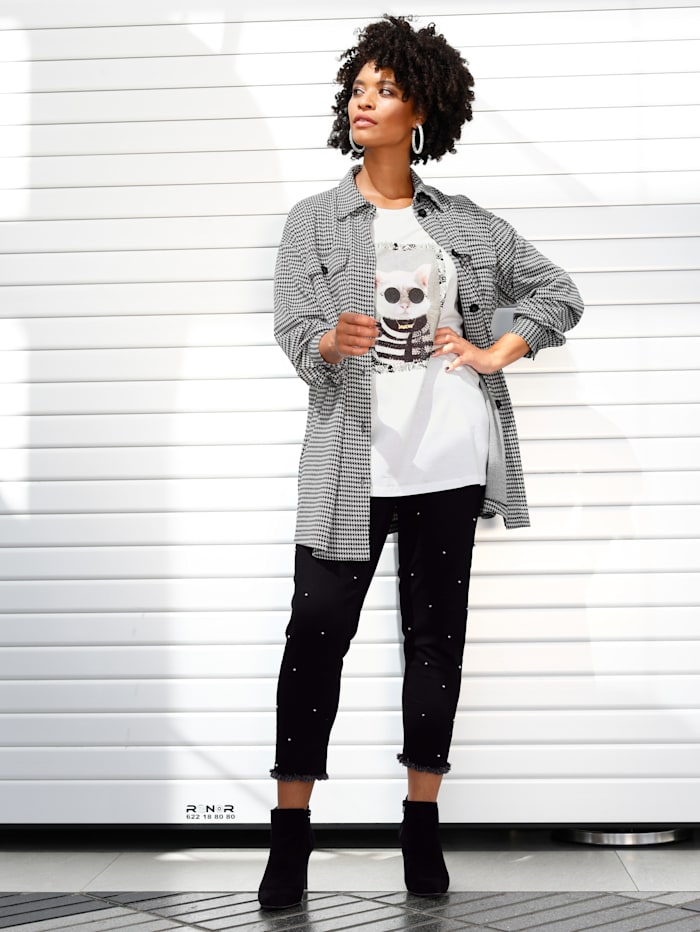 Angel of Style Jeans mit Dekoperlen, Schwarz