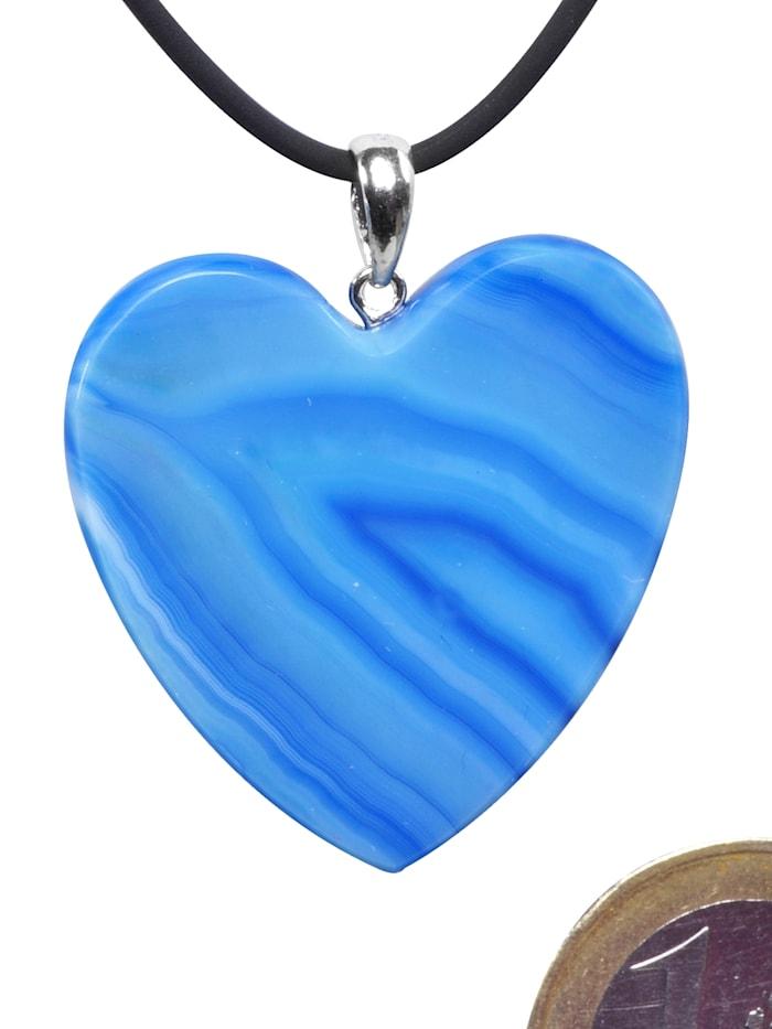 1001 Diamonds Herz Achat Anhänger 925 Silber, blau
