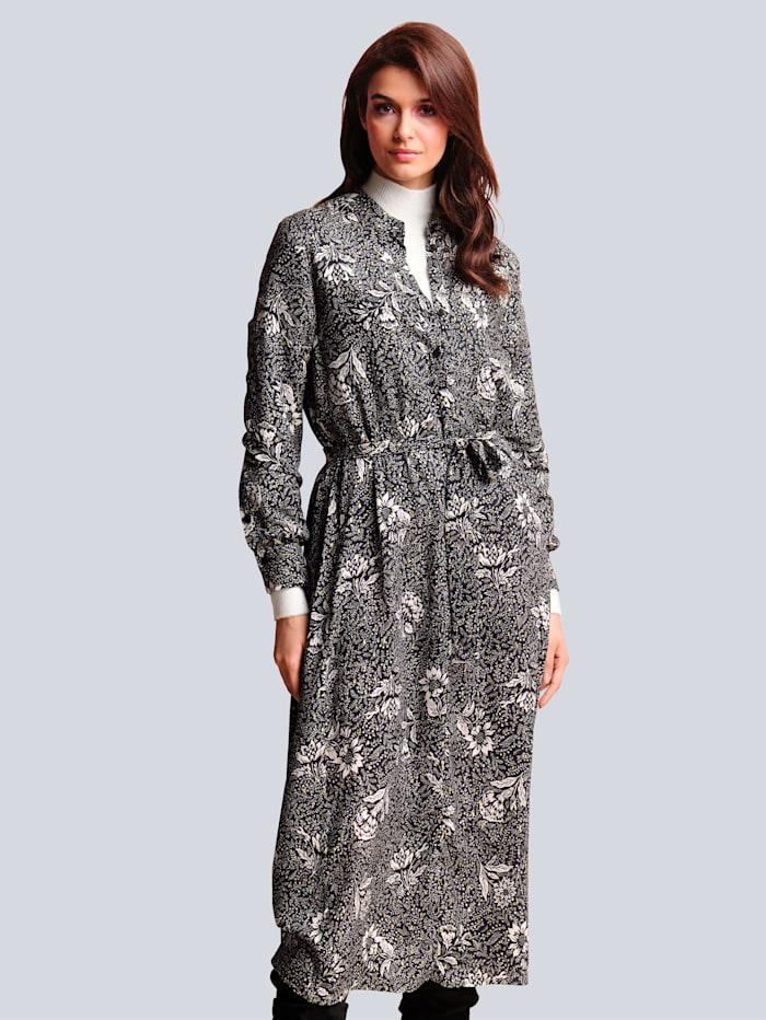 Alba Moda Kleid mit Glanzgarn-Effekt, Schwarz/Off-white