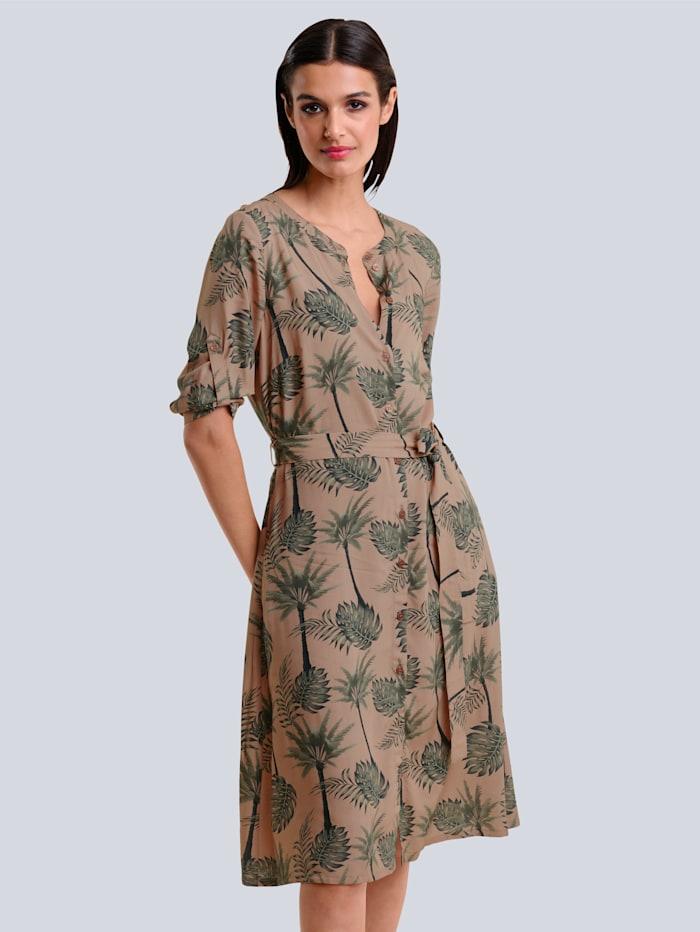 Alba Moda Kleid im floralen neu designten Druck allover, Karamell/Khaki