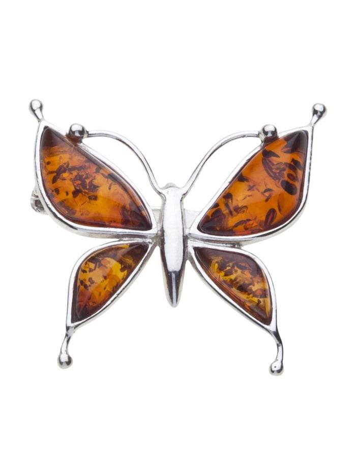OSTSEE-SCHMUCK Brosche - Schmetterling - Silber 925/000 - Bernstein, Silber 925