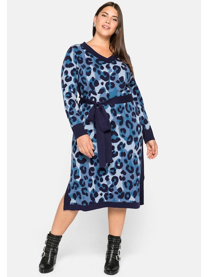 Sheego Kleid mit Animal Look (Jacquard Muster), blaugrau gemustert